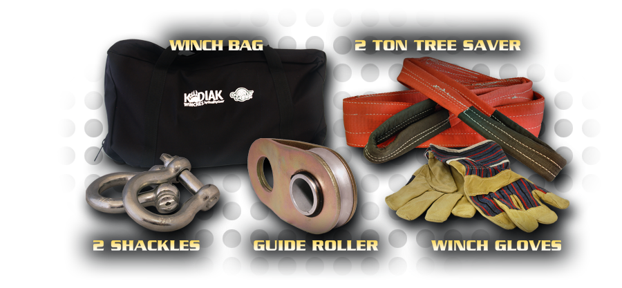 Includes: 1 Winch Bag, 2 Ton Tree Saver, 2 Shackles, 1 Guide Roller, 2 Winch Gloves
